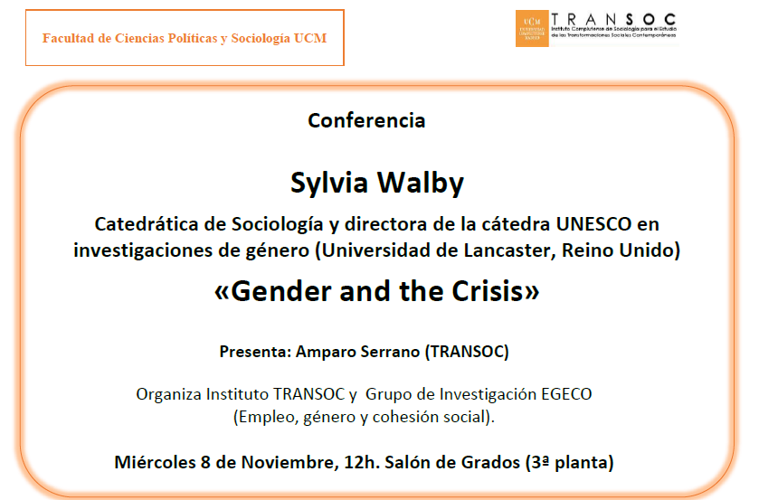 "CONFERENCIA TRANSCOC: ""GENDER AND THE CRISIS"" (8 de noviembre a las 12h)"