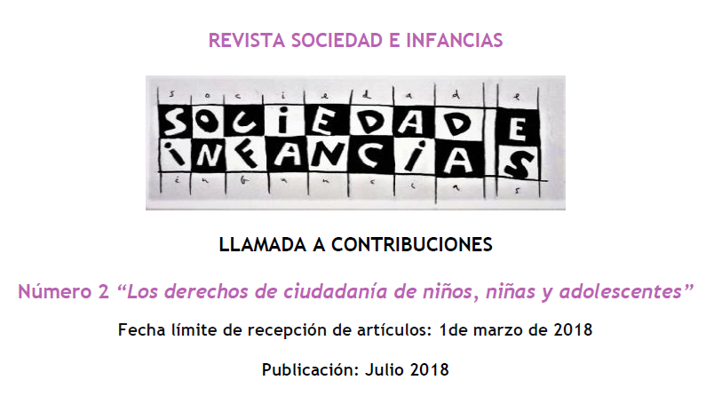 "Call for papers. Revista ""Sociedad e Infancias"" (Hasta el 1 de marzo)"