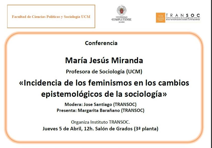 """Conferencia TRANSOC, María Jesús Miranda, """"Incidencia de los feminismos en los cambios epistemológicos de la sociología""""  - 1"""