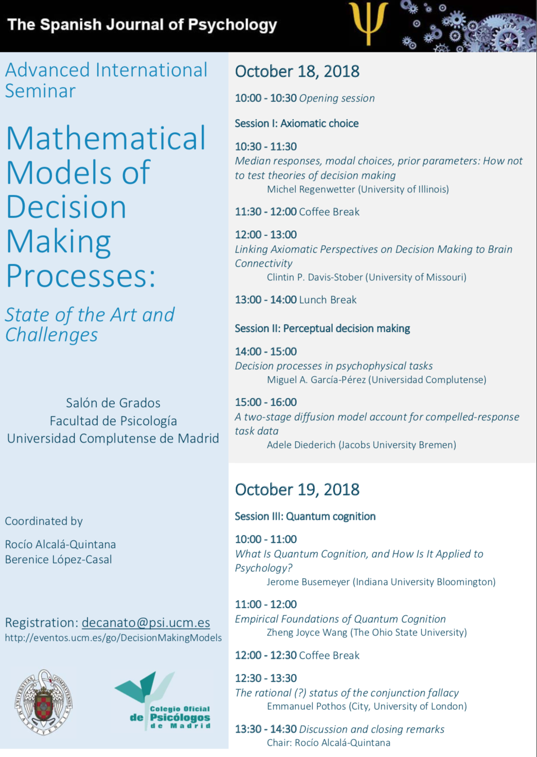 VII Advanced International Seminar Mathematical Models of Decisión Making Processes (18-19 octubre)